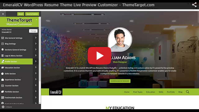 Video tutorial : EmeraldCV WordPress Resume Theme Live Preview Customizer - ThemeTarget.com